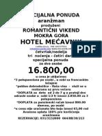 Cenovnik Promo Vikend Mecavnik