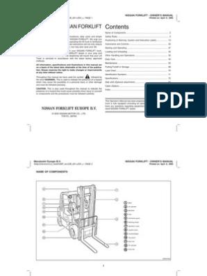 Forklift Owner's Manual | Forklift | Elevator on