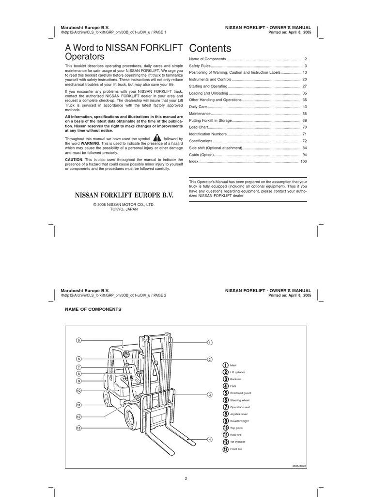 Nissan 50 Forklift Wiring Diagram Great Installation Of Brakes Owner S Manual Elevator Truck Rh Scribd Com Forklifts Model Kcph02a25v Vacuum