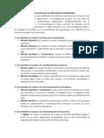 CLASIFICACIÓN DE LOS MÉTODOS Y TECNICAS DE ENSEÑANZA