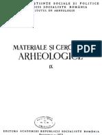 Materiale si cercetari arheologice,  IX - 1970