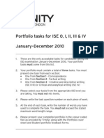 2010 Portfolio Tasks (ISE 0 - IV)