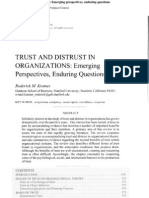 Trust and Distrust in Organizations. Emerging Perspectives, Enduring Questions