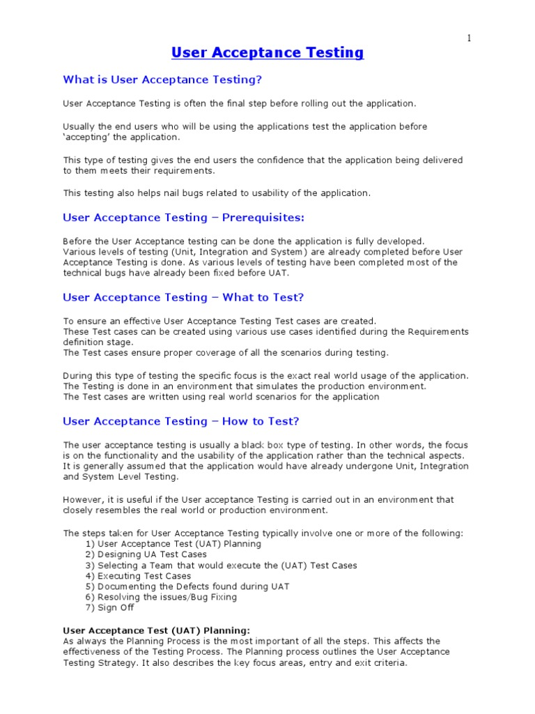 User Acceptance Testing | Software Bug | Systems Science