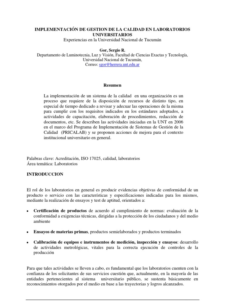 16 - IMPLEMENTACIÓN DE GESTION DE LA CALIDAD EN LABORATORIOS ...