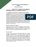 TEMA 1 MEDIOS DE PARTICIPACION Y PROTAGONISMO DEL PUEBLO Democracia participativa y protagónica EN VENEZUELA