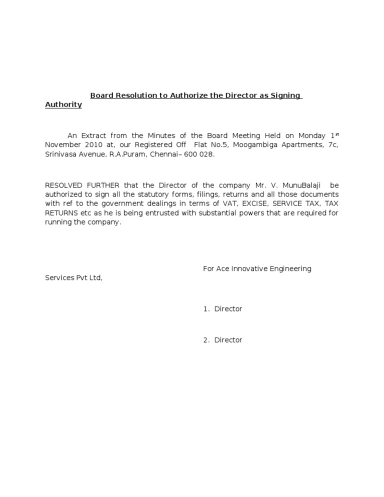 Board resolution to authorize the director as signing for Board resolution template singapore