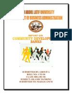 Report on Community Development Banks