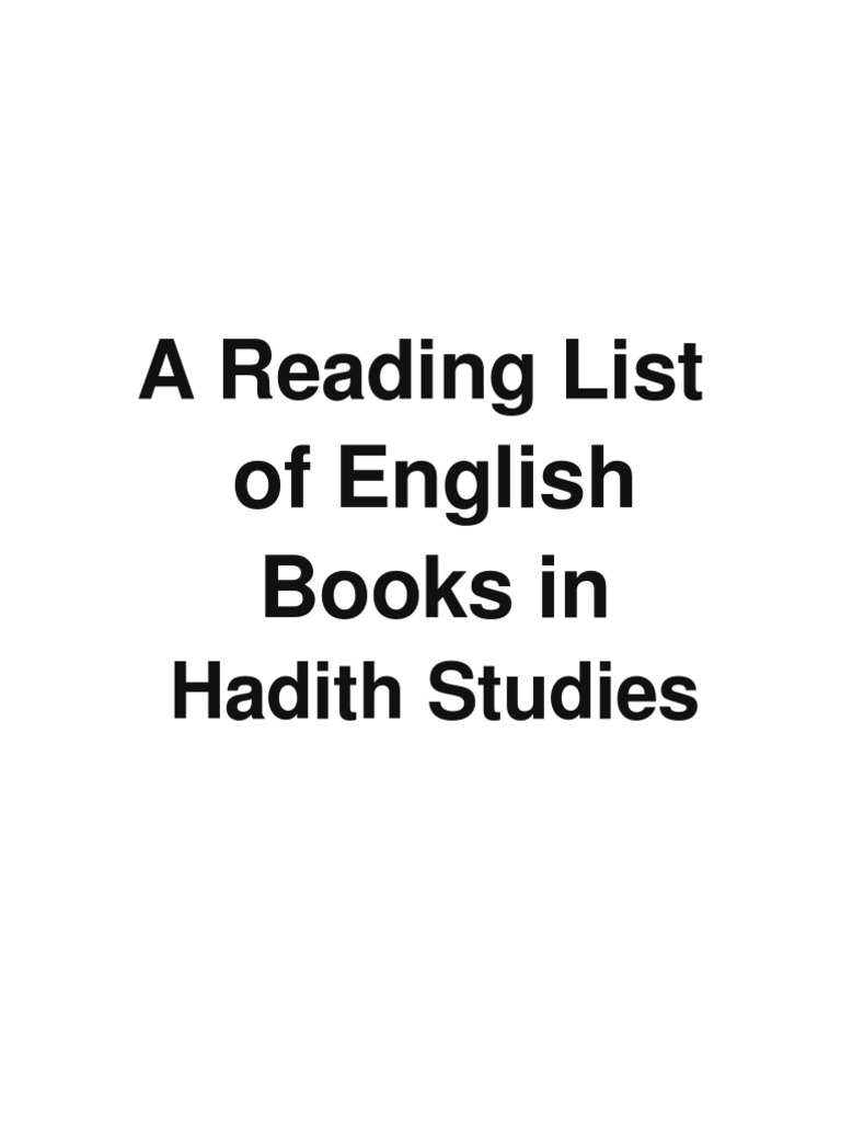 A Reading List of English Books in Hadith | Hadith | Islamism