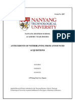Undergraduate Dissertation - Antecedents of withdrawing from announced acquisitions