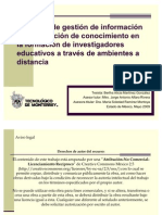 Procesos de gestión de información y construcción de conocimiento en la formación de investigadores educativos a través de ambientes a distancia