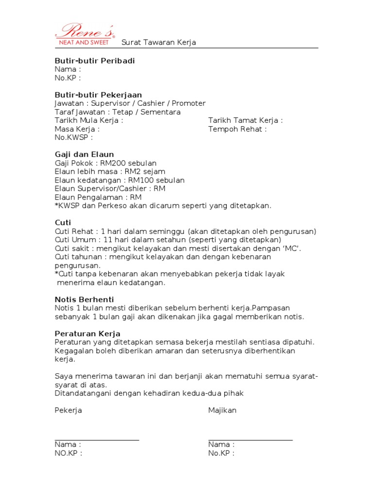 surat rasmi tawaran kerja