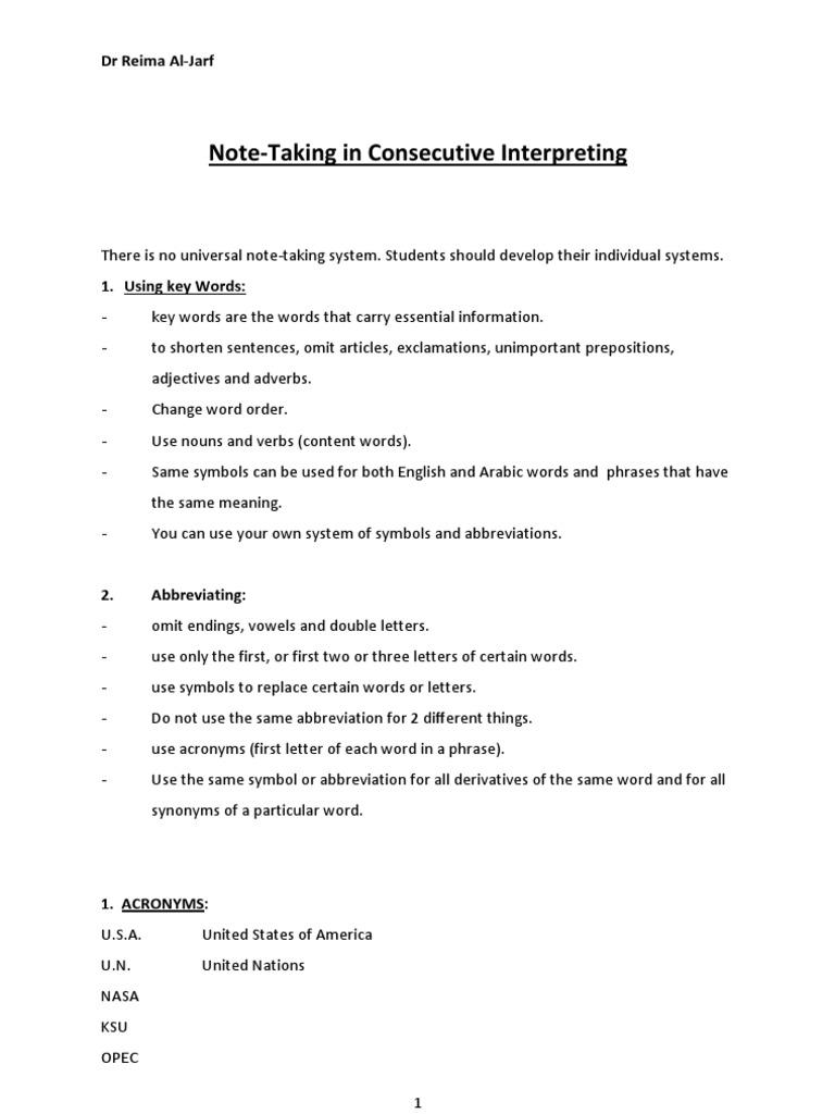 Interpreting Note Taking Adjective English Language