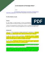 El proceso de evaluación en Psicología Clínica