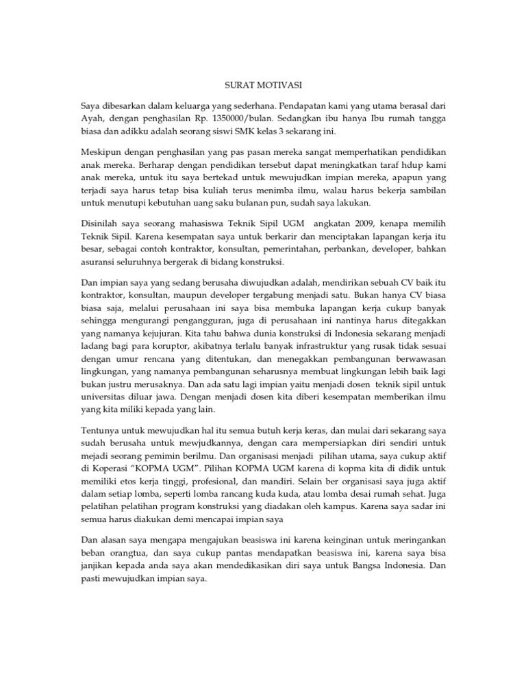 Contoh Surat Motivasi Masuk Universitas Kedokteran Contoh Surat