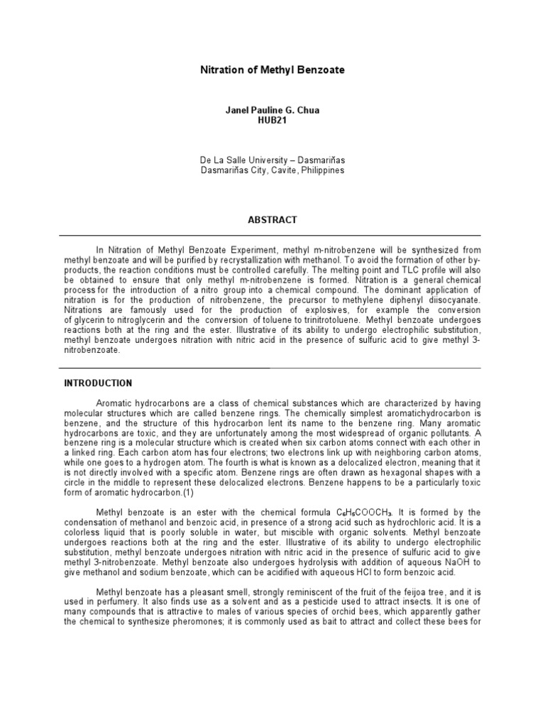 nitration lab View lab report - experiment 6 lab report from orgo chem 001 at howard nitration of methyl benzoate candice madison @02712507 march 30, 2015 organic chemistry laboratory 145- section.