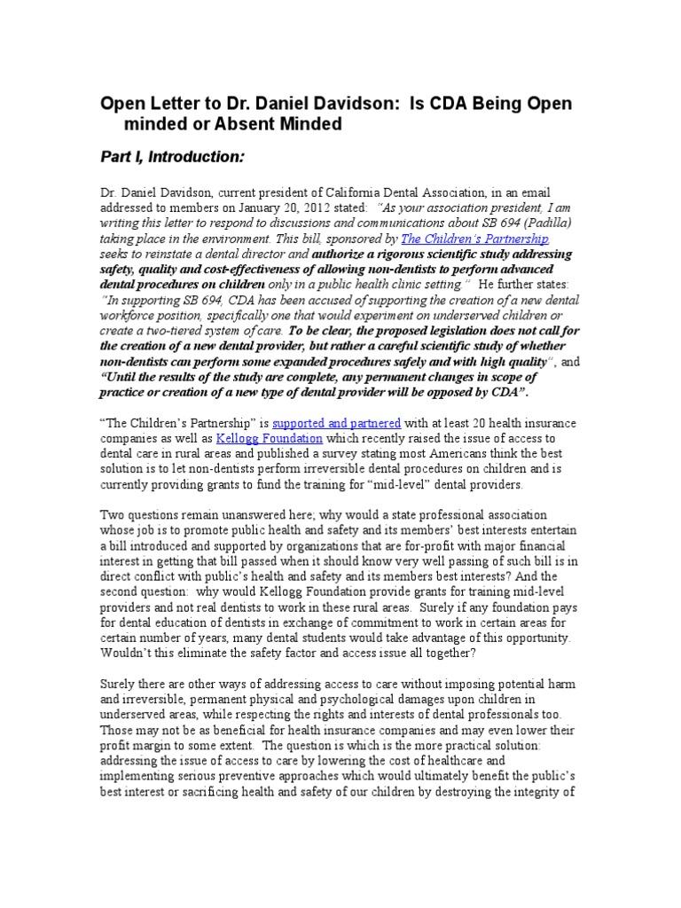 open letter to dr daniel davidson dentistry insurance