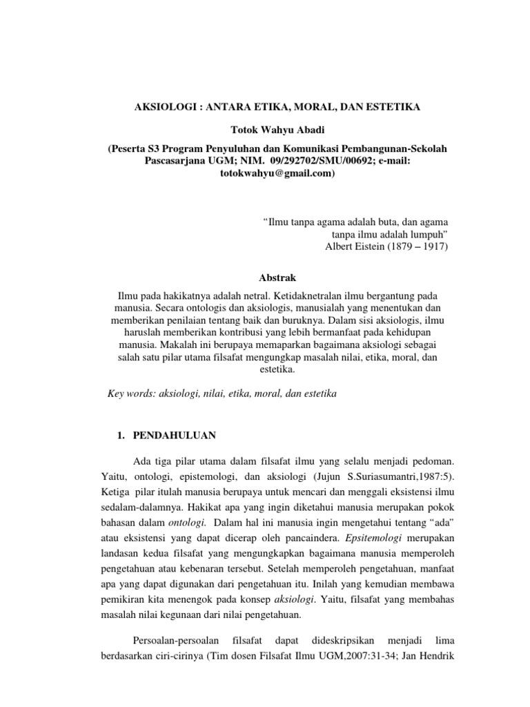 Aksiologi Filsafat Ilmu