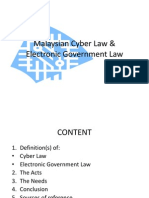 Malaysian Cyber Law & Electronic Government Law