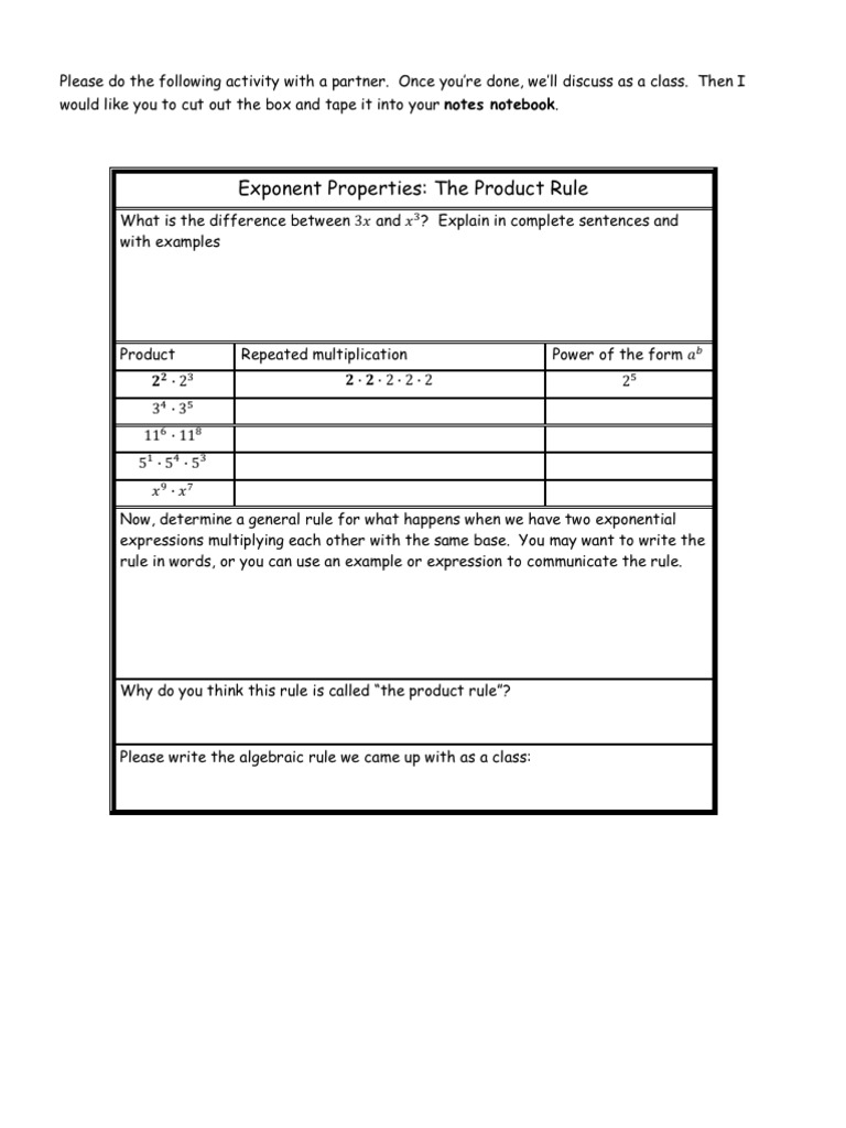 Worksheets Rules For Exponents Worksheet exponent rules proof worksheets
