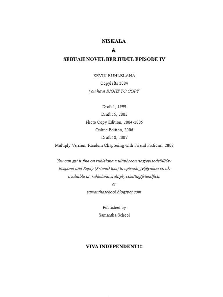 Niskala Dan Sebuah Novel Berjudul Episode IV