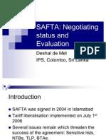 Negotiation Status & Evaluation of SAFTA