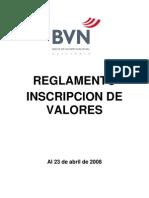 Reglamento para la Inscripción de Valores