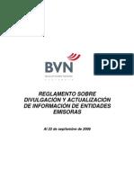 REGLAMENTO SOBRE DIVULGACIÓN Y ACTUALIZACIÓN DE INFORMACIÓN DE ENTIDADES EMISORAS