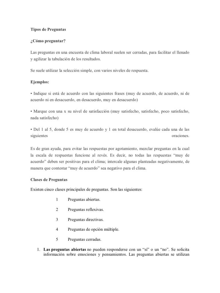 Preguntas Clima Laboral Grupo De Trabajo Sicología Y