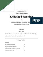 An Exposition on Some Criticisms Against Khilafat-E-Rashida by Maulana Sheikh Mubarak Ahmad
