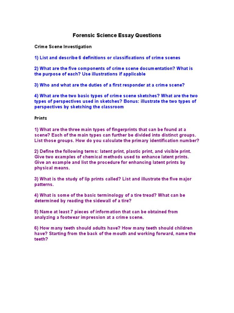 scientific crime investigation essay example