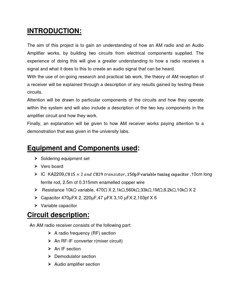 Anacom Project Report Amplifier Detector Radio Wireless Receiving Demodulation Integrated Circuit Diagram