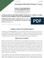 Impeachment Complaint Against Chief Justice Renato C. Corona - Full-Text