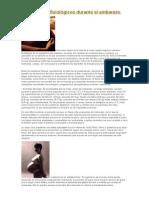 Los cambios fisiológicos durante el embarazo