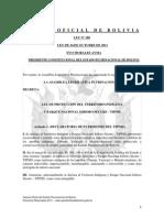Ley 180 Ley de Proteccion del Territorio Indigena y Parque Nacional Isiboro Secure - TIPNIS