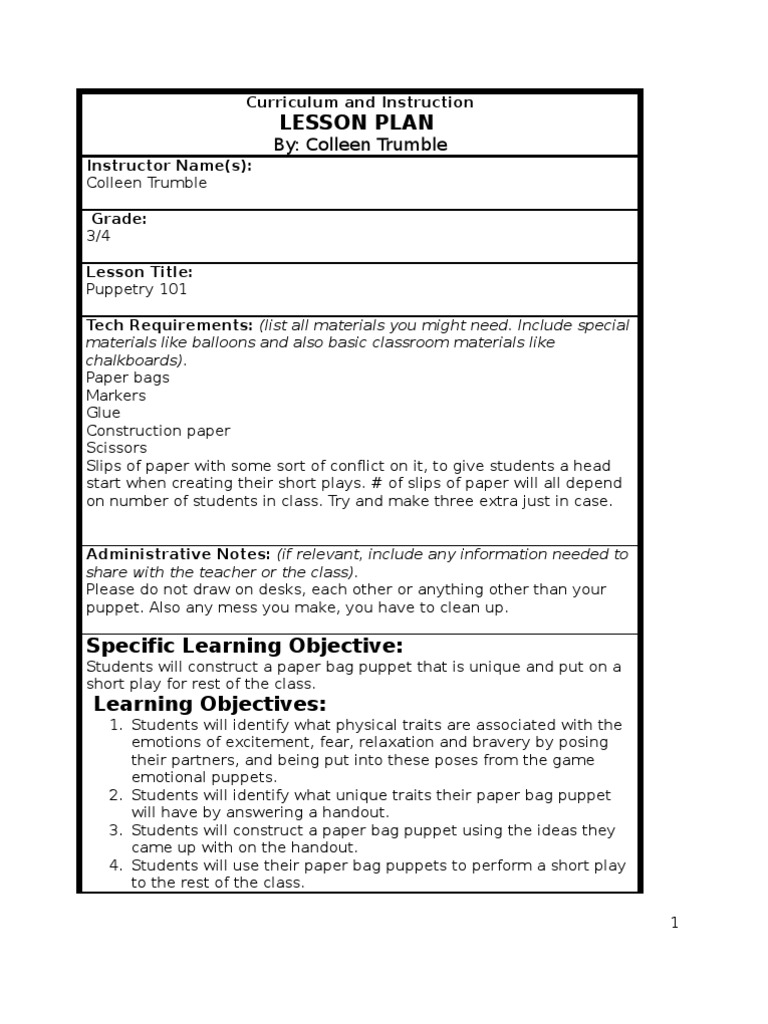 puppetry lesson plan lesson plan puppetry