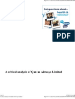 A Critical Analysis of Qantas Airways Limited