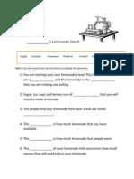 Lemonade Economics Worksheet 1