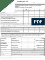 Team Evaluation Form