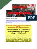 Noticias Uruguayas domingo 29 de Enero de 2012