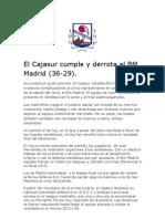 El Cajasur cumple y derrota al BM Madrid (36-29)