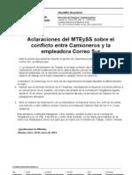 Aclaraciones Del MTEySS Sobre El Conflicto Entre Camioneros y La a Correo Sur