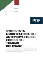 Propuesta Modificatoria Del Anteproyecto de Codigo Del Trabajo En cuanto a la Discapacidad