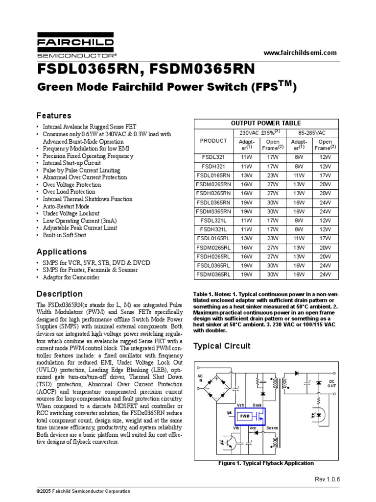Fsdl0365 Fsdm0365rn Series Field Effect Transistor Capacitor Adjustable Direct Current And Pulsed Circuit Fault Limiter