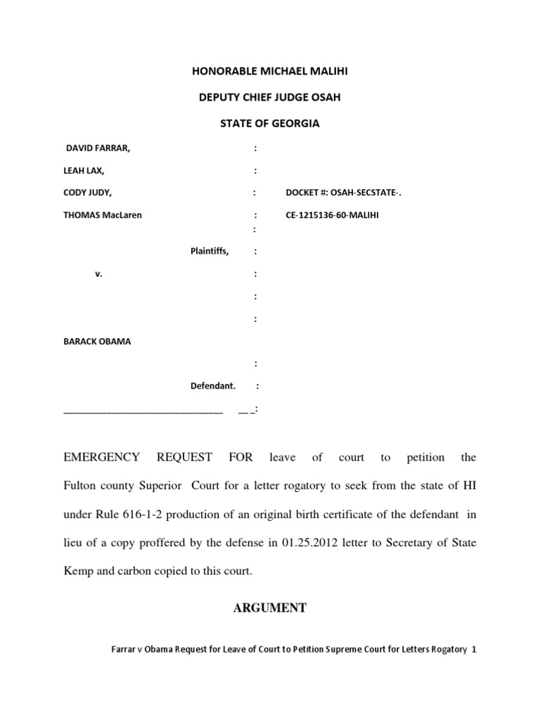 Georgia farrar v obama emergency request for leave to petition georgia farrar v obama emergency request for leave to petition fulton county superior court for letters rogatory virginia circuit court social aiddatafo Gallery