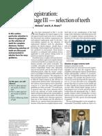 Registration  Stage III — selection of teeth