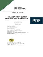 REGIONAL & INTERREGIONAL INPUT OUTPUT ANALYSIS