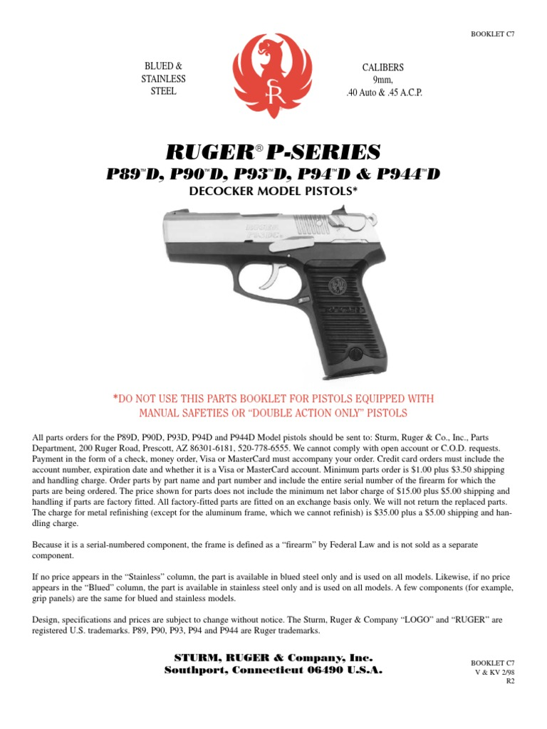 Ruger P90 45 acp complete slide assembly no rear site