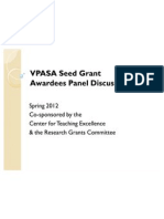 VPASA Seed Grant Awardees Panel Discussion