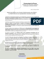 Communiqué de Presse - Fédé B - Report des élections aux Conseils d'Administration des CROUS _ La Fédé B dénonce une représentation étudiante sacrifiée